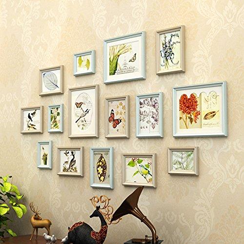 Cornice portafoto set-solid legno semplice e moderno stile rettangolo cornice portafoto 15pezzi Set C