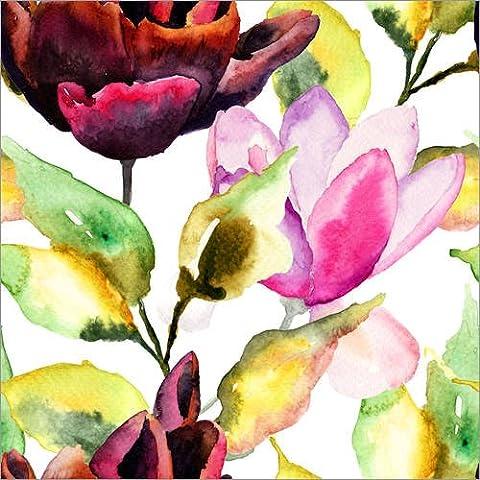 Impresión en madera 70 x 70 cm: Black Tulip and Magnolia flowers de Colourbox