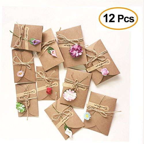 IHRKleid 12 Stück Handgemachtes Retro danken Ihnen Karten mit Getrockneten Blumen, Aufkleber und Jute Twine Grußkarte, Verzierte Postkarte Unbelegte, Danksagungskarten Umschläge Kleber Aufkleber