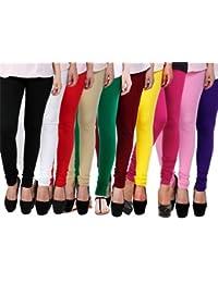 Omikka New Women's 160 GSM Cotton Lycra 4 Way Strechable Churidar Leggings Pack Of 10 (Free Size)