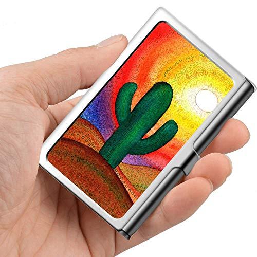 Professionelle Visitenkarte, Brieftasche aus Edelstahl Kreditkarteninhaber ID-Kartenhalter Desert Cactus