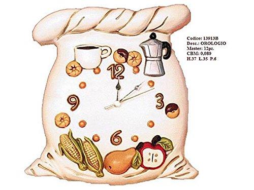 Orologio da parete disegno sacco in ceramica cm 37x35x6