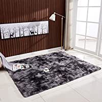 Decdeal Ultra Soft Tie-Dye Style Gradient Color Carpet Floor Bedroom Mat Rectangle Shape Fluffy Rug for Living Room Bedroom Balcony Hallway Mat