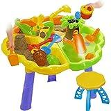Dominiti Sandkastentisch mit Zubehör + 2 Hocker - Spieltisch + Förmchen, Gießkanne - auch für das Kinderzimmer geeignet