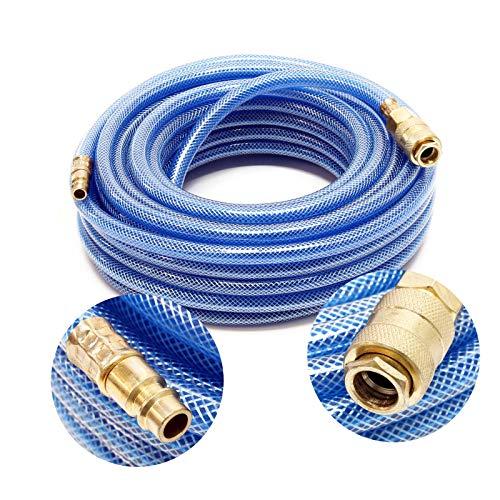 Wiltec PVC Druckluftschlauch mit Schnellkupplung, 15 Meter Länge, Benzin- & Ölbeständig -