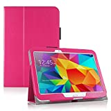 Invero® Premium Hülle Ledertasche umfasst Ständer Feature, Displayschutzfolie und Eingabestift Kugelschreiber für Samsung Galaxy Tab 4 10,1 Zoll SM T530 T531 (Rosa / Pink)