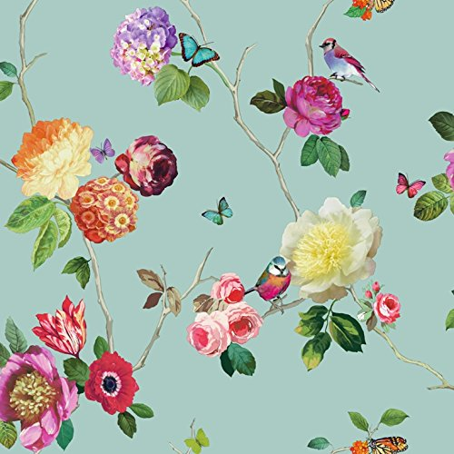 Price comparison product image Arthouse Opera Charmed Butterfly Bird Floral Rose Teal Multi Wallpaper - 889800 by Arthouse