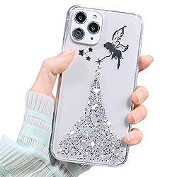 MoreChioce Engel Strass kompatibel mit iPhone 11 Pro Max Hülle,Ultra Dünn Silber Paillette Strass Transparent Kristall Flexible Gel Case Weiche Silikon Handyhülle Protective Schutzhülle Bumper