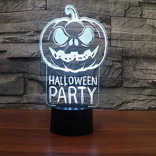NDSLJSL 3D Nachtlicht 7 Farben Halloween-Kürbis Beleuchtet Buntes Nachtlichtgeschenklicht ()