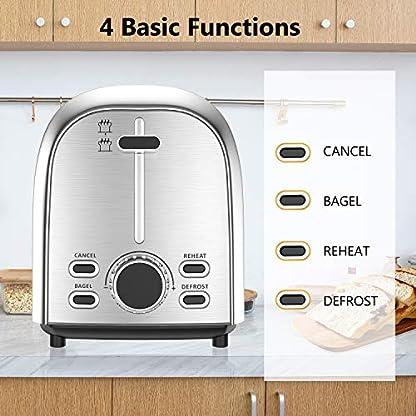 Toaster-OUSMIN-Toaster-Edelstahl-Doppelschlitz-Brtchenaufsatz-7-Brunungsstufen-mit-LED-Anzeige-Breit-Schlitz-Brotzentrierung-Krmelschublade-Auftau-Aufwrm-Stopp-Funktion-850W