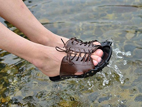 Uomini Sandali Di Cuoio Summer New Lace-Up Pantofole Trend Quotidiano Scarpe Casual Slip On Beach Shoes Brown
