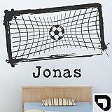 DESIGNSCAPE® Wandtattoo Fußballtor mit Wunschname | Fussball mit Wunschname Jungenzimmer 120 x 86 cm (Breite x Höhe) schwarz DW808175-M-F4