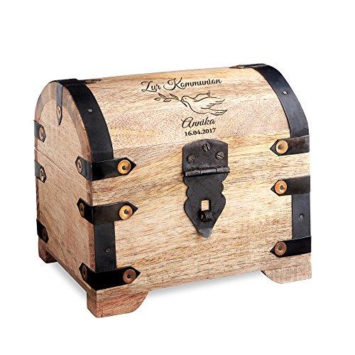 Casa Vivente Große Schatztruhe mit Gravur - Zur Kommunion - Motiv Taube - Personalisiert mit Namen und Datum - Helles Holz - Verpackung für Geldgeschenke - Geschenkideen zur Erstkommunion