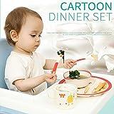 Celebration Gift 5pcs Baby Cartoon Dinner Set Environment Friendly Made From Bamboo Fiber Assorted Print