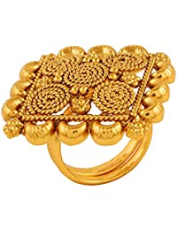 AccessHer Gold Plated Antique Classic Square Gold Plated Finger Ring For Women