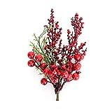 Meien Crafts Noël Berry Branche, Bricolage Faux Noël Fleur de Cerisier Litchi Couronne Craft Famille de soirée de Mariage Décoration, Pendentif Fleur de Noël Bibelots,1