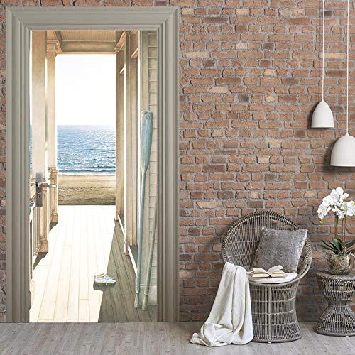 LJIEI Türtapete selbstklebend TürPoster wasserdichte 3D Kreative Tür Aufkleber Selbstklebende Papier Dekoration Schlafzimmer Wohnzimmer Wandaufkleber Tür Aufkleber Flur Meer (90X200) -