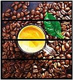Wallario Möbelfolie/Aufkleber, geeignet für Ikea Malm Kommode - Kaffee und Bohnen mit 4 Schubfächern