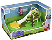 Peppa Pig Muddy Puddle del Parco giochi Playset-Slide parte della collezione Peppa Pig Muddy Puddle-Quattro raccogliere (altalena, scivolo, giostra e zipline) funzionale gioco-Premere Peppa giù dallo scivolo include mobili Peppa Pig fig...