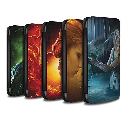 Officiel Elena Dudina Coque/Etui/Housse Cuir PU Case/Cover pour Apple iPhone 5/5S / Écailles Vertes Design / Dragon Reptile Collection Pack 5pcs