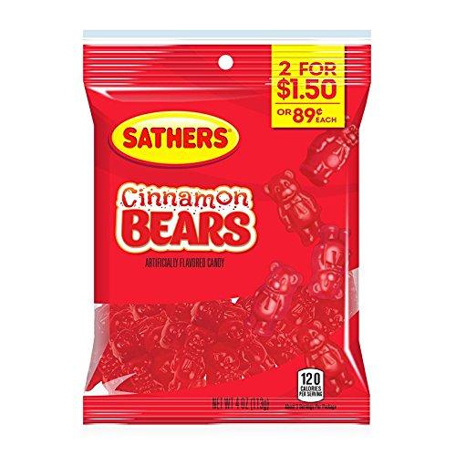Sathers Cinnamon Bears 3 x 113g/4oz Bags - American Cinnamon Bears Candy