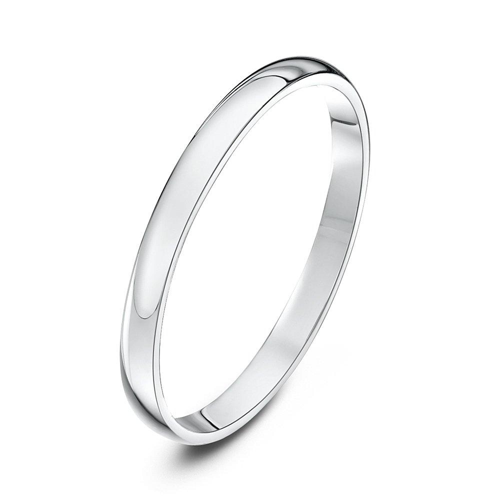 Theia Unisex Heavy D Shape Polished Platinum Wedding Ring