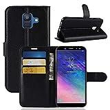 Lapinette Schutzhülle Wallet-Etui für Samsung-Galaxy A6 + Film Noir