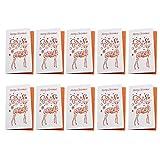 Blesiya 10pcs Weihnachtskarten, Weihnachtskarte mit Umschlag, Einladungkarten, Grußkarten zu Weihnachten Set - Rentier, 20 x 18 cm