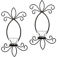 Hosley Juego de dos, 11,5cm alto hierro té luz vela candelabro de pared. Ideal para de regalo Spa, aromaterapia, boda. Hecho a mano por artesanos