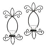 HOSLEY® Set von zwei, 29,2 cm Hohe Eisen Teelicht Kerze Wandleuchter. Ideales Geschenk für Spa, Aromatherapie, Hochzeit. Von Hand gestaltet