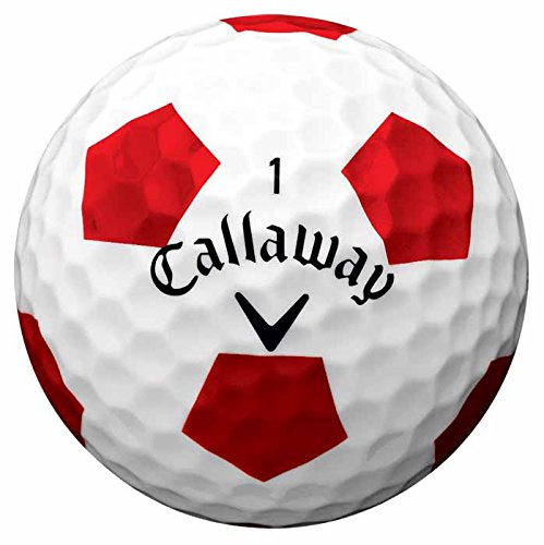 Callaway Men's Chrome Soft Golf Balls, Truvis White/Red, One Dozen
