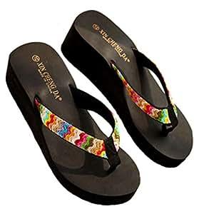 e7aea95470d3 Hunputa Women Summer Platform Thong Sandals Beach Flat Wedge Patch Flip  Flops Beach Slippers Shoes (