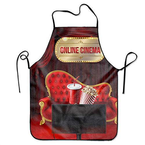 ERCGY 2019 Apron Novelty Online Cinema Kitchen Apron Unisex for Cooking BBQ Party (Cinema 2019 Halloween De)