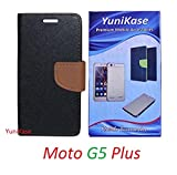 YuniKase Motorola Moto G5 Plus / Moto G5 Plus - - - Fancy Wallet Flip Cover Case (Black,Brown)