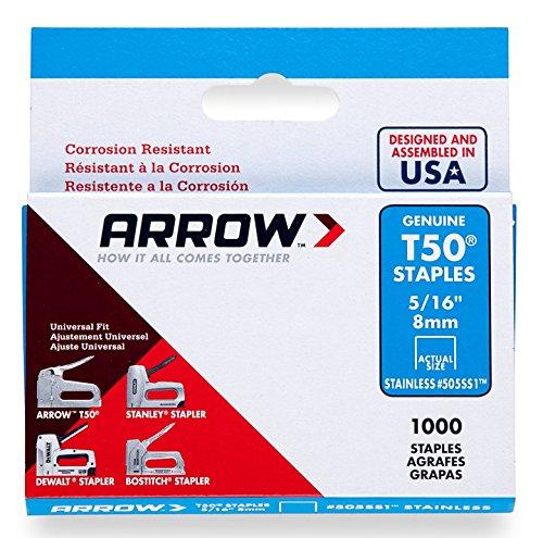 Arrow 031063 505SS1 Boîte de 1000 Agrafes 8 mm pour Agrafeuse T50