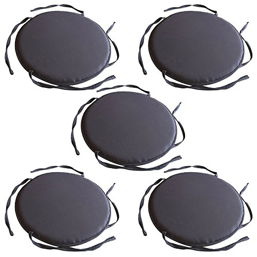 TOPmountain 5 pcs Circular Round Bistro Tie-on Kitchen Dining Patio Chair Seat Pad Cushion Furniture
