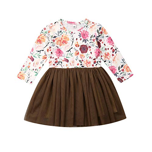 Wang-RX Kinder Baby Mädchen Prinzessin Kleid Halloween Kostüm Langarm Tüll Tutu Kleid Blumen Patchwork Kleid