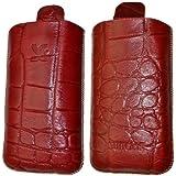 Original Suncase Echt Ledertasche (Lasche mit Rückzugfunktion) für Samsung GT S5260 Star 2 in croco-rot