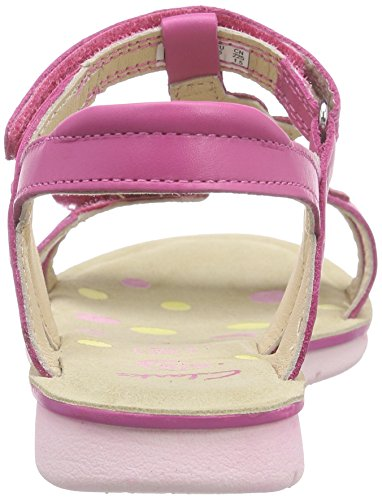 Clarks Kids Mimogracie Jnr, Sandales Bride cheville fille Rose (Pink Leather)