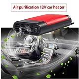 WANYIG Riscaldamento Auto 12v, Sbrinatore Auto 12v 150W 2 in 1 Riscaldatore per auto Demister Sbrinatore Ventilatore Veicolo Riscaldamento automatico Demiste (Rosso, con purificazione dell'aria)