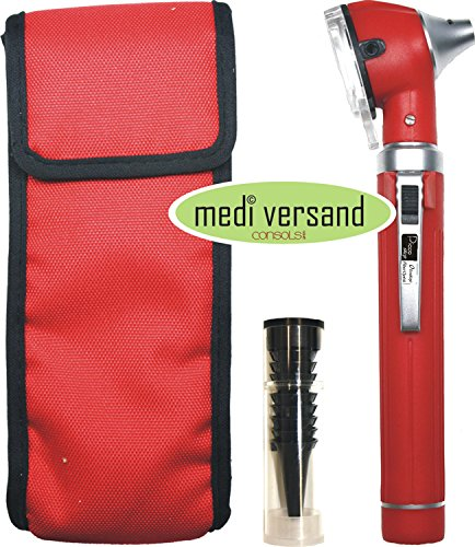Otoskop F.O. Fiberoptik mit Zubehör Farbe rot - Otoskop-zubehör