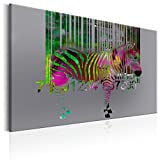 murando - Bilder 120x80 cm - Leinwandbild - 1 Teilig - Kunstdruck - Modern - Wandbilder XXL - Wanddekoration - Design - Wand Bild - Poster Abstrakt Zebra Tier Bunt g-C-0016-b-d