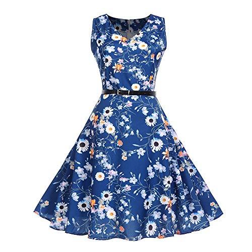 Frauen Weinlese Sleeveless O Ansatz, der Partei Abschlussball Schwingen Kleid druckt Malloom 1950er Vintage Kleid Blumen