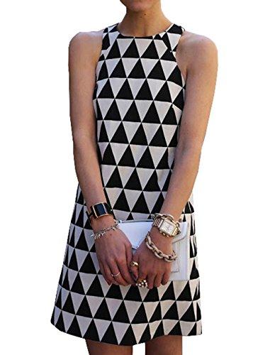 Damen Sommer ärmellos Abendkleid Minikleider Geometrie Gemustert Casual A-Linie Kleid Festkleid...