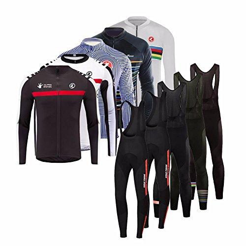Uglyfrog 2017 Winter Thermisches Langärmelig Fahrradtrikot Bike Jersey + Lange Hosen atmungsaktiv Reiten Jacke Hose für Outdoor Radfahren ZRHB02 (Langärmelige Thermische)