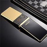 QHJ Phones Doppelter Doppelbildschirm Doppel-Sim Karten-Touch Screen FM Telefon-Schlag-Handy (Gold)