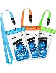 """Wasserdichte Hülle, Mpow 3 Stück Wasserdichte Hülle Beutel Tasche, Handyhülle, Staubdichte Schützhülle für iPhone 7/ 7 Plus/ 6/ 6s / 6sPlus /SE / 5s / 5 / 5c, S7/ S7 edge/S6 / S6 edge / S5 und andere Geräte bis 5.7"""""""