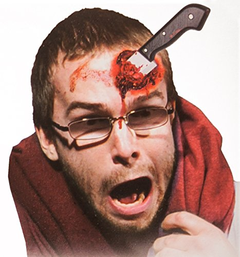 Blutiges Messer im Kopf – Spezial-Effekt inkl. Latexmilch, Kunstblut und Fake Messer Applikation - Horror Makeup (Blutige Halloween-make-up)
