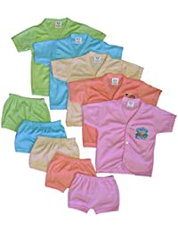 Cool Baby Baby's Cotton Silk Shirts and Matching Shorts (Multicolour, 0-6 Months) - Set of 5