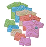 #5: Cool Baby Baby 5 Shirts & Matching Shorts (COOL-004_Multicolour_0 - 6 Months)